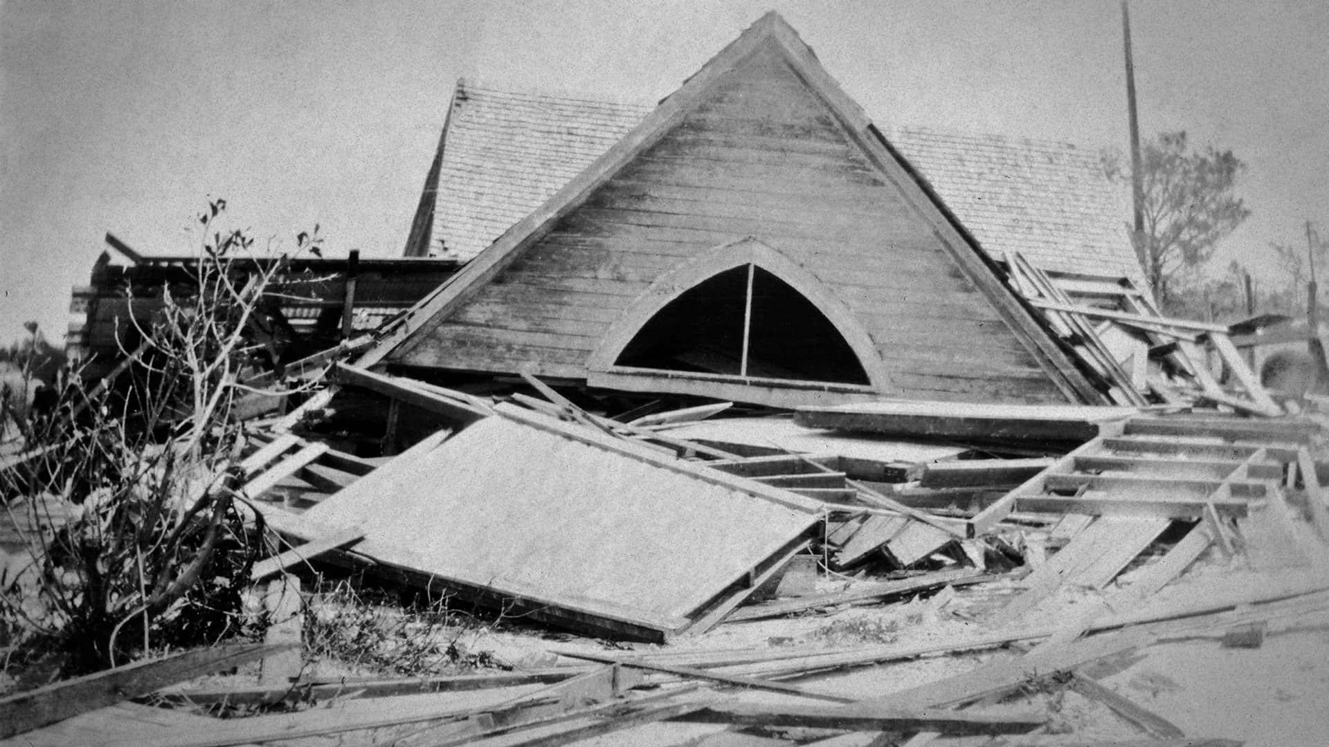 Hurricane damage in early Deerfield Beach, FL
