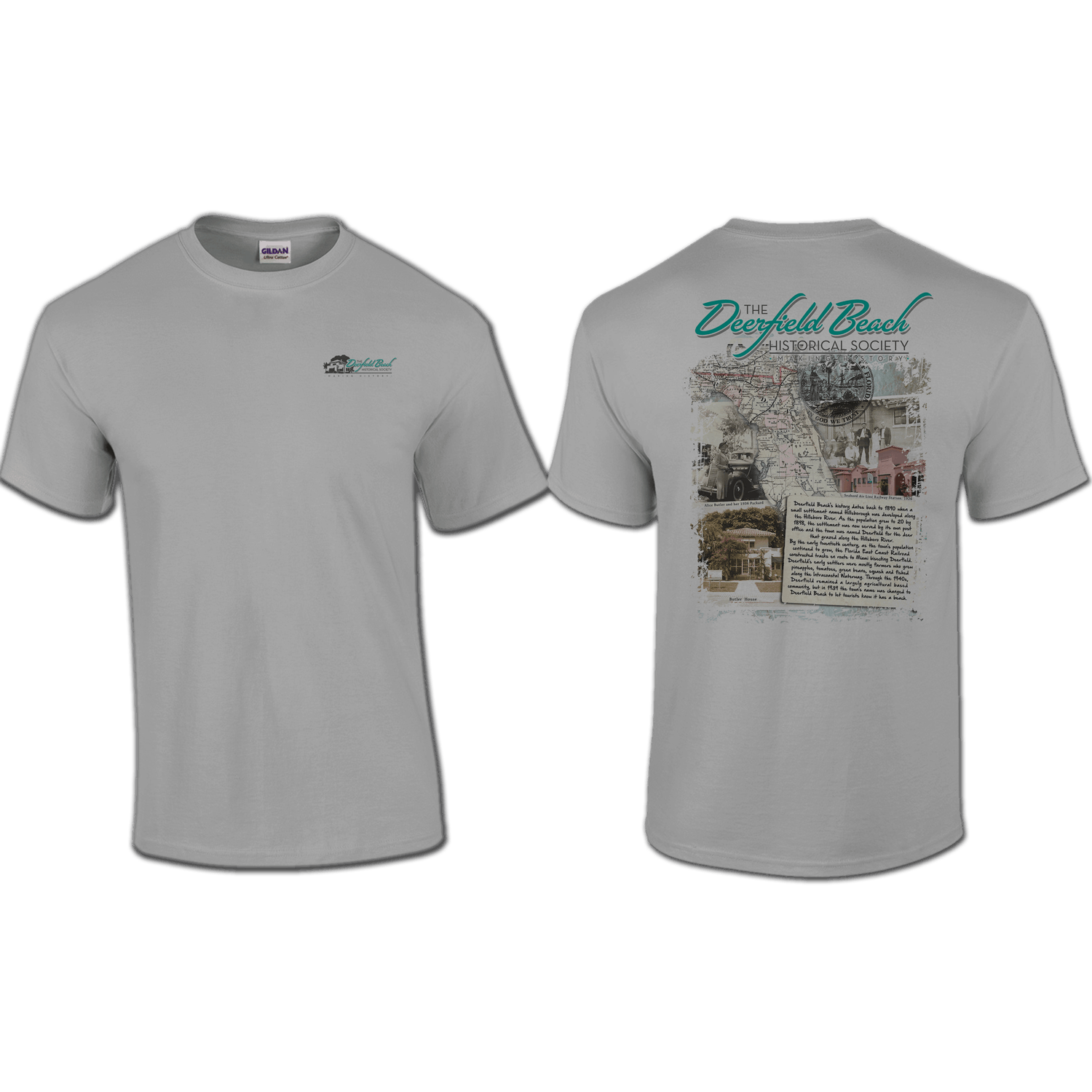 T shirt pocket back print deerfield beach historical for Shirts with graphics on the back