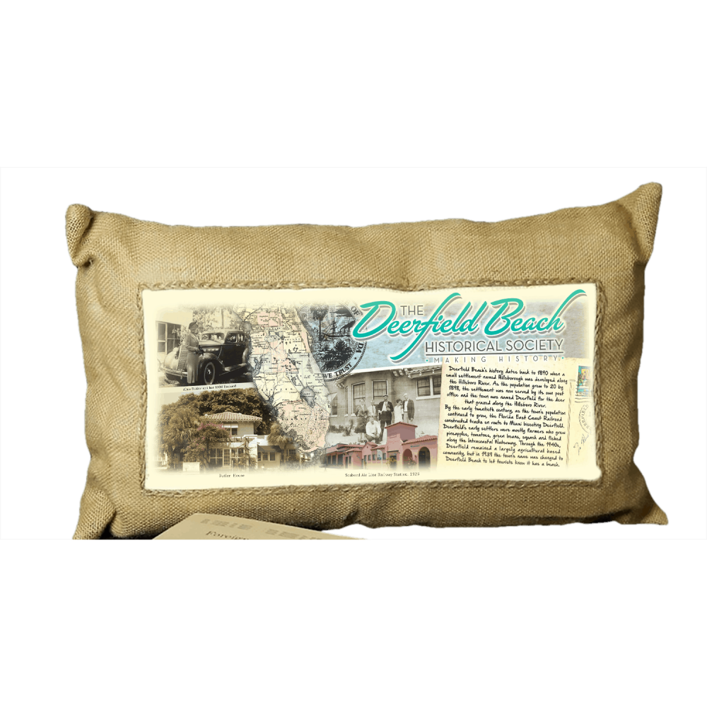 Deerfield Beach Historical Society - SHOP: Burlap Cushion